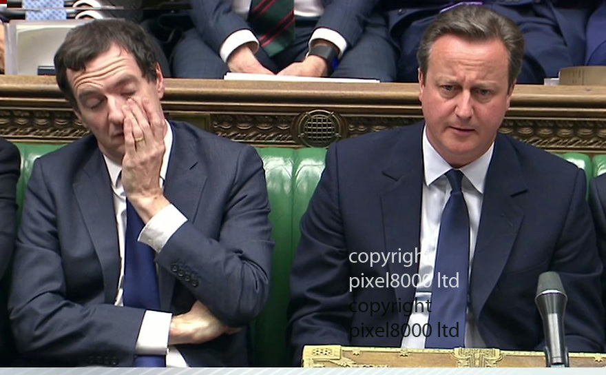 Pic shows: Commons statement on the Brexit Vote<br /> <br /> George Osborne looks a little sleepy sitting next to David Cameron<br /> <br /> Pic by Pixel 8000 Ltd