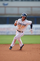 Charlotte Stone Crabs Tyler Frank (5) running the bases during a Florida State League game against the Palm Beach Cardinals on April 14, 2019 at Charlotte Sports Park in Port Charlotte, Florida.  Palm Beach defeated Charlotte 5-3.  (Mike Janes/Four Seam Images)