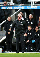 9th November 2019; St James Park, Newcastle, Tyne and Wear, England; English Premier League Football, Newcastle United versus AFC Bournemouth; Steve Bruce Manager of Newcastle United shouts at the Referee after a foul wasnt given to his team -Strictly Editorial Use Only. No use with unauthorized audio, video, data, fixture lists, club/league logos or 'live' services. Online in-match use limited to 120 images, no video emulation. No use in betting, games or single club/league/player publications