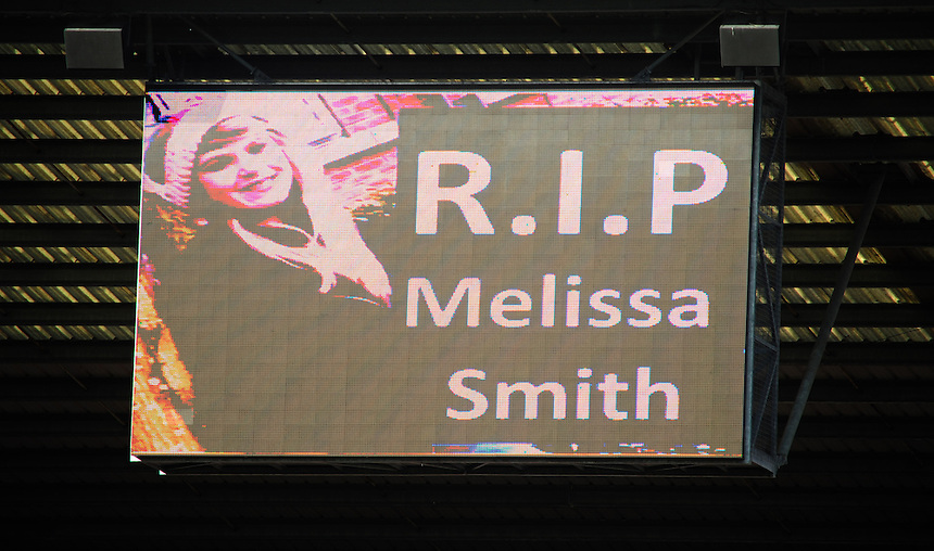 A sign on the big screen at Preston North End's Deepdale stadium reads &quot;R.I.P. Melissa Smith&quot; during the first half<br /> <br /> Photographer Chris Vaughan/CameraSport<br /> <br /> Football - The Football League Sky Bet League One - Preston North End v Fleetwood Town - Saturday 25th October 2014 - Deepdale - Preston<br /> <br /> &copy; CameraSport - 43 Linden Ave. Countesthorpe. Leicester. England. LE8 5PG - Tel: +44 (0) 116 277 4147 - admin@camerasport.com - www.camerasport.com
