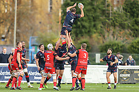 Jonathan Mills of London Scottish collects the ball in a line out during the Greene King IPA Championship match between London Scottish Football Club and Hartpury RFC at Richmond Athletic Ground, Richmond, United Kingdom on 28 October 2017. Photo by David Horn.