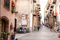 Street scene in the historic centre of Cefalu, Sicily