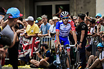 Thibaut Pinot (FRA) Groupama-FDJ arrives at sign on before Stage 19 of the 2019 Tour de France originally running 126.5km from Saint-Jean-de-Maurienne to Tignes but cut short to 88.5 km due to heavy hailstorms, France. 26th July 2019.<br /> Picture: ASO/Pauline Ballet | Cyclefile<br /> All photos usage must carry mandatory copyright credit (© Cyclefile | ASO/Pauline Ballet)