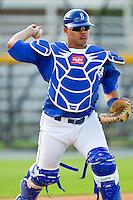 Burlington Royals catcher Alexander Marquez #12 during practice at Burlington Athletic Park on June 15, 2012 in Burlington, North Carolina.  (Brian Westerholt/Four Seam Images)