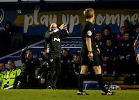 Paul Cook manager of Portsmouth directs his frustration towards Referee Gavin Ward during the FA Cup 1st round match between Portsmouth and Wycombe Wanderers at Fratton Park, Portsmouth, England on the 5th November 2016. Photo by Liam McAvoy.