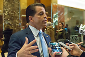 Anthony Scaramucci, financial adviser to President-elect Donald J. Trump, speaks with members of the press upon arrival at Trump Tower in New York, NY, USA on November 30, 2016. <br /> Credit: Albin Lohr-Jones / Pool via CNP