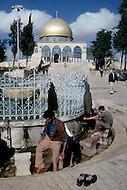 Jerusalem, Israel, November, 1980. Muslims praying infont of Dome of the Rock.