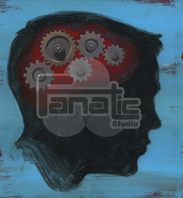 Human head with interlocked gear wheel