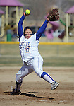 Western Nevada College's Jordan Garcia pitches against Colorado Northwestern during a college softball game on Friday, April 6, 2012, in Carson City, Nev..Photo by Cathleen Allison