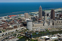aerial view above downtown Cleveland Ohio Lake Erie stadium Burke Lakefront airport