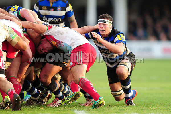 Francois Louw of Bath Rugby looks on at a scrum. Aviva Premiership match, between Bath Rugby and Harlequins on February 18, 2017 at the Recreation Ground in Bath, England. Photo by: Patrick Khachfe / Onside Images
