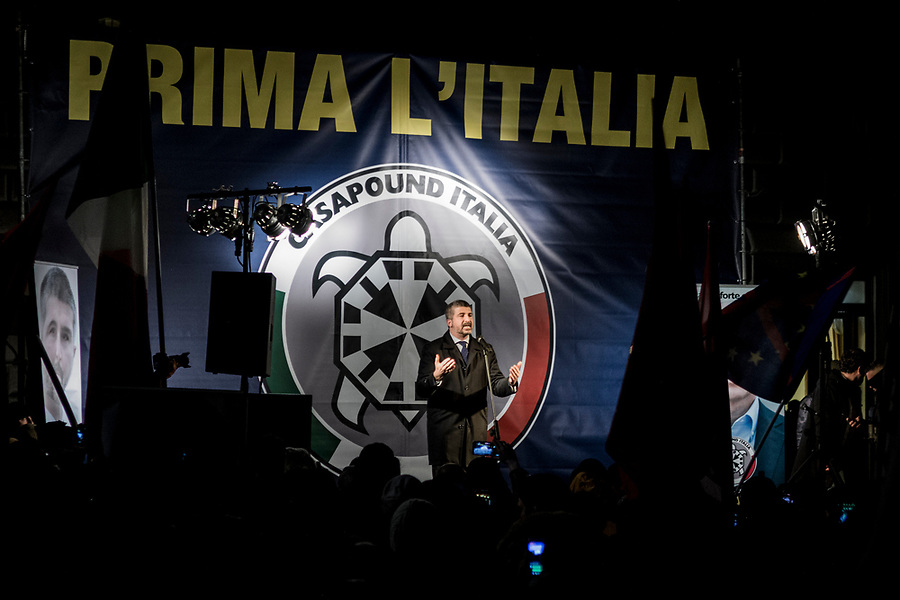 Simone di Stefano during the final election rally by the neofascist group Casa Pound in Rome, March 1st 2018.