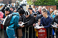 Wilfried Bony of Swansea City signs autographs to fans as he arrives prior to the game during the Emirates FA Cup match between Wolverhampton Wanderers and Swansea City at The Molineux Stadium, Wolverhampton, England, UK. Saturday 06 January 2018