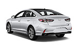 Car pictures of rear three quarter view of a 2018 Hyundai Sonata Hybrid Limited 4 Door Sedan angular rear