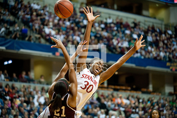 INDIANAPOLIS, IN - APRIL 3, 2011: Nnemkadi Ogwumike is stripped of the ball during the NCAA Final Four against Texas A&M at Conseco Fieldhouse  in Indianapolis, IN on April 1, 2011.