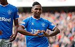 14.09.2019 Rangers v Livingston: Alfredo Morelos scores for Rangers and celebrates