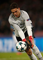 Football Soccer: UEFA Champions League Napoli vs Mabchester City San Paolo stadium Naples, Italy, November 1, 2017. <br /> Manchester City's goalkeeper Ederson during the Uefa Champions League football soccer match between Napoli and Manchester City at San Paolo stadium, November 1, 2017.<br /> UPDATE IMAGES PRESS/Isabella Bonotto