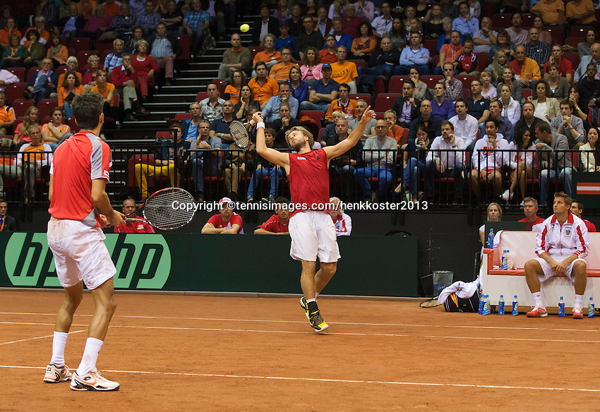 14-sept.-2013,Netherlands, Groningen,  Martini Plaza, Tennis, DavisCup Netherlands-Austria, Doubles,   Oliver Marach and Julian Knowle (AUT)<br /> Photo: Henk Koster