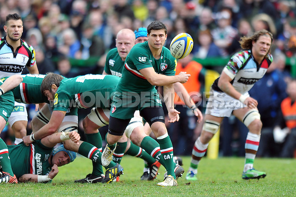 Ben Youngs passes the ball. Aviva Premiership semi final, between Leicester Tigers and Harlequins on May 11, 2013 at Welford Road in Leicester, England. Photo by: Patrick Khachfe / Onside Images