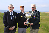 (L to R) Kevin McCarthy Captain Tralee GC Ronan Mullarney (MU) winner John McLoughney President GUI at the final of the Irish Students Amateur Open Championship, Tralee Golf Club, Tralee, Co Kerry, Ireland. 12/04/2018.<br /> Picture: Golffile | Fran Caffrey<br /> <br /> <br /> All photo usage must carry mandatory copyright credit (&copy; Golffile | Fran Caffrey)