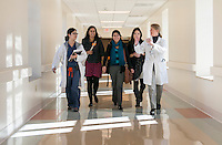 From left, resident physician Linh Truong, Cecilia Miranda '15, Pari Vanjara '14, Amber Thai '15 and Dr. Kimberly Shriner '80 at Huntington Memorial Hospital, Pasadena, Jan. 8, 2013.<br />