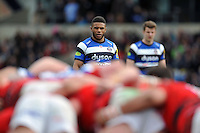 Kyle Eastmond of Bath Rugby watches a scrum. Aviva Premiership match, between London Welsh and Bath Rugby on March 29, 2015 at the Kassam Stadium in Oxford, England. Photo by: Patrick Khachfe / Onside Images