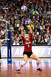 KANSAS CITY, MO - DECEMBER 16: Kelly Hunter (3) of the University of Nebraska sets the ball during the Division I Women's Volleyball Championship held at Sprint Center on December 16, 2017 in Kansas City, Missouri. (Photo by Jamie Schwaberow/NCAA Photos via Getty Images)