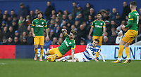 Preston North End's Sean Maguire is brought down by Queens Park Rangers' Josh Scowen<br /> <br /> Photographer Rob Newell/CameraSport<br /> <br /> The EFL Sky Bet Championship - Queens Park Rangers v Preston North End - Saturday 19 January 2019 - Loftus Road - London<br /> <br /> World Copyright &copy; 2019 CameraSport. All rights reserved. 43 Linden Ave. Countesthorpe. Leicester. England. LE8 5PG - Tel: +44 (0) 116 277 4147 - admin@camerasport.com - www.camerasport.com