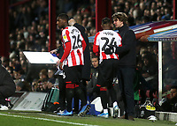 Brentford Head Coach, Thomas Frank brings on his two recent signings, Shandon Baptiste and Tariqe Fosu in the second half during Brentford vs Leeds United, Sky Bet EFL Championship Football at Griffin Park on 11th February 2020