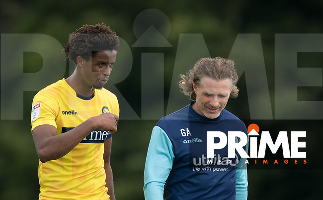 Wycombe Wanderers Manager Gareth Ainsworth & Sido Jombati of Wycombe Wanderers during the behind closed doors friendly between Brentford B and Wycombe Wanderers at Brentford Football Club Training Ground & Academy, 100 Jersey Road, TW5 0TP, United Kingdom on 3 September 2019. Photo by Andy Rowland.