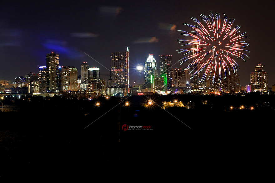 Fireworks grace the heavens over downtown Austin, Texas