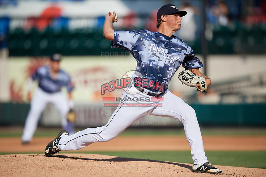 Lakeland Flying Tigers starting pitcher Tom de Blok (36) during a Florida State League game against the Dunedin Blue Jays on May 18, 2019 at Publix Field at Joker Marchant Stadium in Lakeland, Florida.  Dunedin defeated Lakeland 3-2 in eleven innings.  (Mike Janes/Four Seam Images)