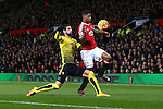 Miguel Britos of Watford fouls Marcus Rashford of Manchester United - Barclay's Premier League - Manchester United vs Watford - Old Trafford - Manchester - 02/03/2016 Pic Philip Oldham/SportImage