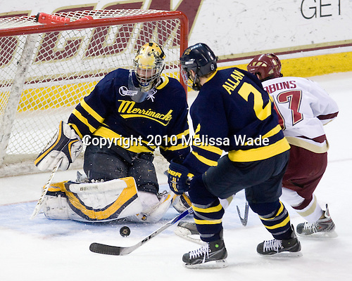 Andrew Brathwaite (Merrimack - 33), Fraser Allan (Merrimack - 2), Brian Gibbons (BC - 17) - The Boston College Eagles defeated the Merrimack College Warriors 7-0 on Tuesday, February 23, 2010 at Conte Forum in Chestnut Hill, Massachusetts.