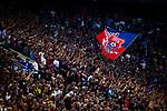 09.08.2019, Merkur Spiel-Arena, Düsseldorf, GER, DFB Pokal, 1. Hauptrunde, KFC Uerdingen vs Borussia Dortmund , DFB REGULATIONS PROHIBIT ANY USE OF PHOTOGRAPHS AS IMAGE SEQUENCES AND/OR QUASI-VIDEO<br /> <br /> im Bild | picture shows:<br /> Fankurve der Uerdinger, <br /> <br /> Foto © nordphoto / Rauch