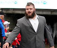 ATHENS, GA - NOVEMBER 23: Ben Cleveland #74 of the Georgia Bulldogs enters the field during the Dawg Walk during a game between Texas A