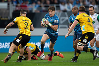 14th June 2020, Aukland, New Zealand;  Blues fullback Beauden Barrett makes a break during the Investec Super Rugby Aotearoa match, between the Blues and Hurricanes held at Eden Park, Auckland, New Zealand.