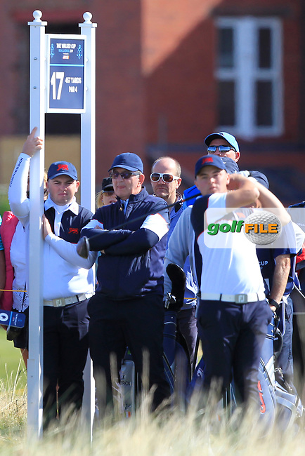 Caolan Rafferty (GB&I) supporting Alex Fitzpatrick (GB&I) on the 17th tee during Day 2 Foursomes of the Walker Cup, Royal Liverpool Golf CLub, Hoylake, Cheshire, England. 08/09/2019.<br />