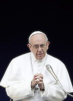 Pope Francis delivers his speech during his visit at the Roma Tre University in Rome, on February 17, 2017.<br /> UPDATE IMAGES PRESS/Isabella Bonotto<br /> <br /> STRICTLY ONLY FOR EDITORIAL USE