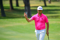 Jon Rahm (ESP) birdies 4 during round 3 of the World Golf Championships, Mexico, Club De Golf Chapultepec, Mexico City, Mexico. 3/4/2017.<br /> Picture: Golffile | Ken Murray<br /> <br /> <br /> All photo usage must carry mandatory copyright credit (&copy; Golffile | Ken Murray)