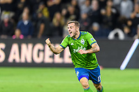 Los Angeles, CA - October 24, 2019.  Seattle Sounders FC defeated LAFC 3 - 1 in the Western Conference Championship match at Banc of California Stadium in Los Angeles.  Jordan Morris celebrates a goal by Raul Riudiaz.