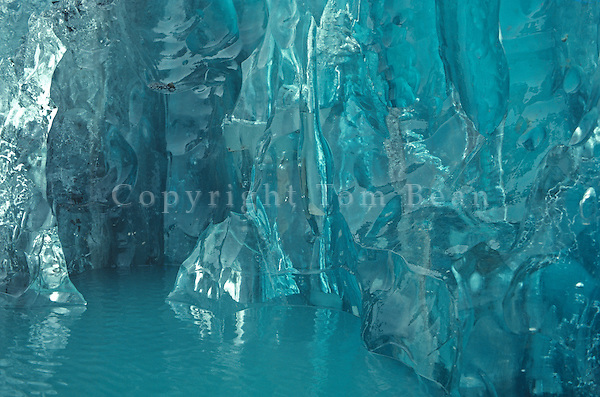 Detail of side of iceberg with crystal glacial ice, floating in Muir Inlet area of Glacier Bay National Park, Alaska, AGPix_0662