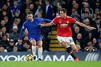 Nemanja Matic of Manchester United grabs the shirt of Chelsea's Eden Hazard during Chelsea vs Manchester United, Premier League Football at Stamford Bridge on 5th November 2017