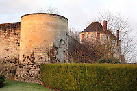 Ramparts and defensive tower, 13th century, and on the right, the Porte Saint Pierre, or St Peter's Gate, at the medieval castle of Chateau-Thierry, where St Joan of Arc is said to have entered at the town's surrender to the forces of King Charles VII, Chateau-Thierry, Picardy, France. The Porte Saint Pierre was listed as a Historical Monument in 1886. The first fortifications on this spur over the river Marne date from the 4th century and the first castle was built in the 9th century Merovingian period by the counts of Vermandois. Thibaud II enlarged the castle in the 12th century and built the Tour Thibaud, and Thibaud IV expanded it significantly in the 13th century to include 17 defensive towers in the walls and an East and South gate. The castle was largely destroyed in the French Revolution after having been a royal palace since 1285. In 1814 it was used as a citadel for Napoleonic troops. Picture by Manuel Cohen