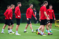 Gareth Bale (centre) of Wales in action during the Wales Training Session and Press Conference at The Vale Resort in Cardiff, Wales. September 3, 2018