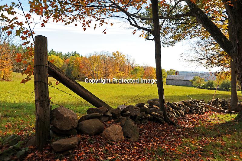 View of Farmstead and Colorful Foliage during Fall Season in Walpole, New Hampshire USA