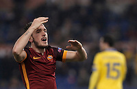 Calcio, Champions League: Gruppo E - Roma vs Bate Borisov. Roma, stadio Olimpico, 9 dicembre 2015.<br /> Roma's Alessandro Florenzi reacts during the Champions League Group E football match between Roma and Bate Borisov at Rome's Olympic stadium, 9 December 2015.<br /> UPDATE IMAGES PRESS/Isabella Bonotto