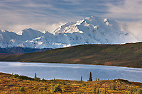 Autumn landscape of Mt. Denali and the tundra by Wonder Lake, Denali National Park, Alaska.