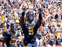 September 8, 2012: California's C.J. Anderson points up to the fans after his rushing touchdown during a game against Southern Utah at Memorial Stadium, Berkeley, Ca