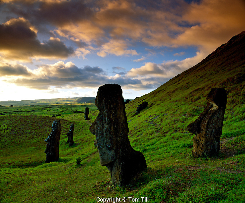 Moai statues at Rano Raraku, Rapa Nui National Park, Easter Island, Chile